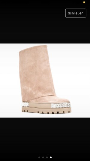 Casadei Snow Boots dusky pink leather