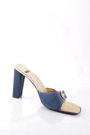 Casadei Absatz Pantoletten goldfarben-blau Jeans-Optik