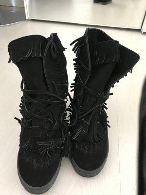 Casadei boots rauleder schwarz mit fransen gr 40
