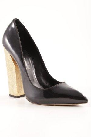 Casadei High Heels schwarz-goldfarben Lack-Optik