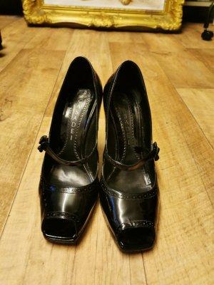 Casadei Peep Toe Pumps black leather
