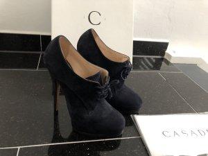 Casadei Plateau booties Ankle Boots blau Wildleder Gr. 36,5