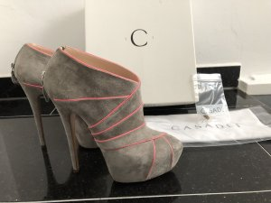 Casadei plateau Booties Ankle Boots grau pink Gr. 37