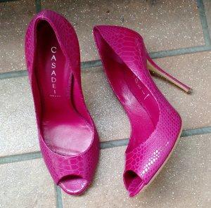 Casadei Pumps Gr. 38 Peeptoe pink rosa high heels sandalette designer luxus
