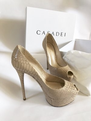 CASADEI Pumps High Heels 36,5 beige nude python sexy club original