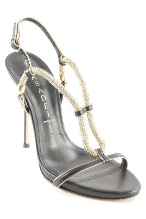 Casadei Riemchen-Sandaletten schwarz-goldfarben Elegant