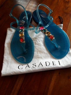 Casadei Strapped High-Heeled Sandals neon blue synthetic material