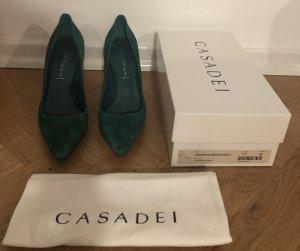 Casadei Zapatos de punta verde bosque