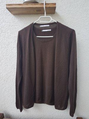 Allude Twin set in maglia marrone scuro