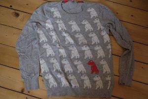 Cashmere Boden Pullover Grau Hund Jackrussel