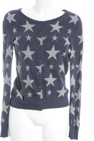Cashmere inside Cardigan dunkelblau-hellgrau Sternenmuster Kuschel-Optik