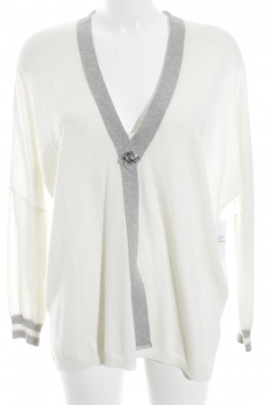 Cashmere Jersey largo blanco puro-gris claro elegante