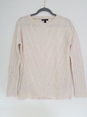 Cashmere Pullover in creme mit Zopfmuster