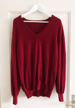 Cashmere Pullover, V-Ausschnitt, rot, Gr. L (oversize)