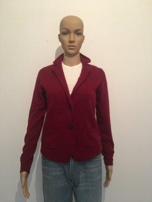 cashmere wolle Blazer Strickjacke Cardigan Revers zwei Knopf dunkelrot weinrot rot 38  kuschelig fein edel Marke Winter