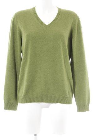 Sudadera de cachemir verde claro-lila estilo sencillo