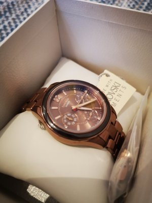 Casio Watch With Metal Strap rose-gold-coloured-bronze-colored