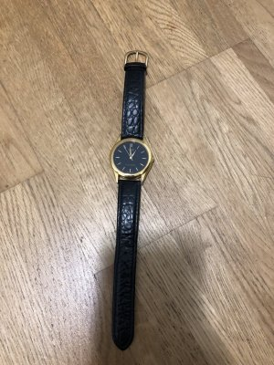 Casio Watch With Leather Strap black-gold-colored