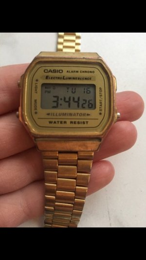 Casio Uhr Armbanduhr gold Retro Digitaluhr