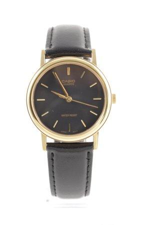 Casio Orologio con cinturino di pelle nero-oro stile professionale