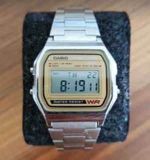 Casio Watch With Metal Strap light brown