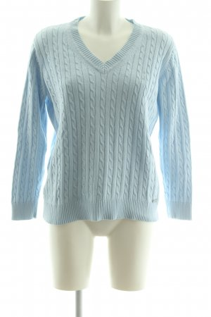 Cassani Cable Sweater blue cable stitch casual look
