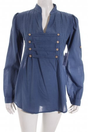 Cassis Collection Tunikabluse stahlblau Blumenmuster Casual-Look