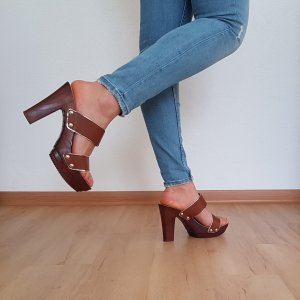 CASSIS cote d'azur shoes Leder Sandalette camel braun plateau heels pumps Absatzschuhe