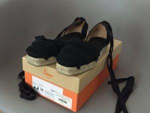 Castañer Platform High-Heeled Sandal black textile fiber