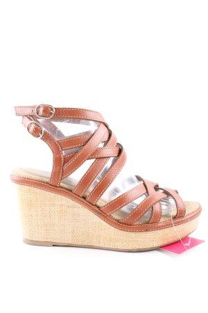 Castañer Platform Sandals brown-cream casual look