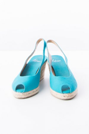 Castañer Wedge Sandals turquoise-oatmeal leather