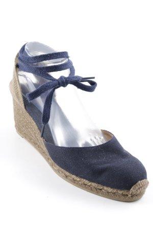 Castañer Wedge Sandals dark blue-camel beach look