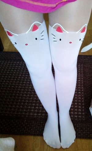 Cat Katze Hello Kitty weiß rot pink Strumpfhose Cosplay süß sexy selten