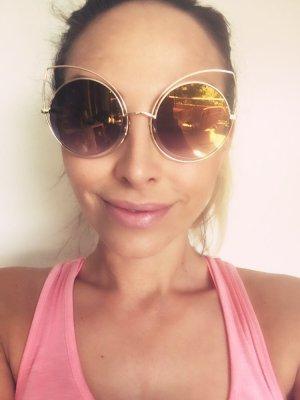 Cateye Sonnenbrille Gold verspiegelte Gläser im Dior Style