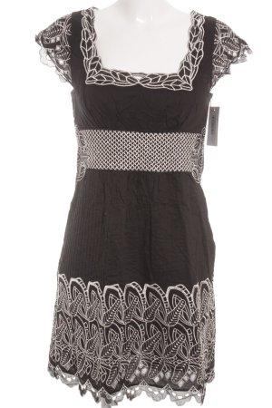 Catherine Malandrino Kurzarmkleid schwarz-weiß florales Muster Casual-Look