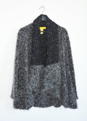 Catherine Malandrino Knitted Wrap Cardigan black-dark grey mixture fibre