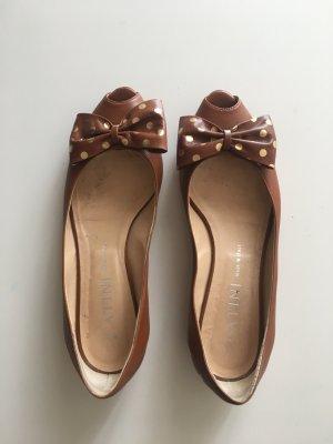 Catini Italia Peep Toe ballerina's cognac-zandig bruin