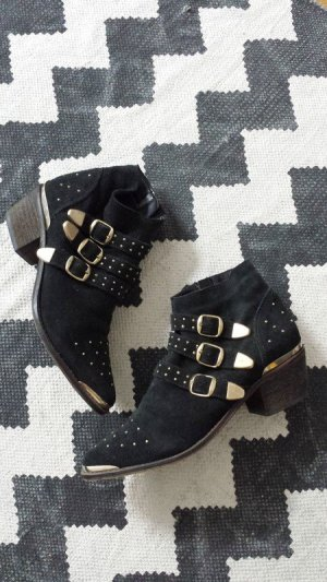 Catwalk Ankle Boots Susanna 39 Leder Nieten studded Biker Schnallen neuwertig