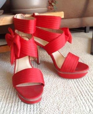 CATWALK High-Heels, Rot mit Masche Größe 38-39