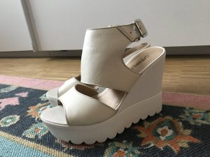 Catwalk Keilabsatz mit Plateau Schuhe Sandalen weiß echtes Leder 36