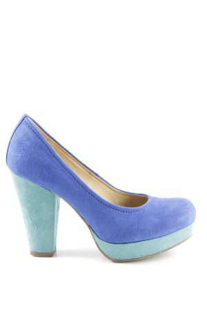 Catwalk Plateauzool pumps neon blauw-turkoois kleurverloop klassieke stijl