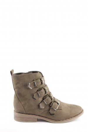Catwalk Zipper Booties olive green-light brown casual look
