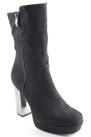 Catwalk Reißverschluss-Stiefeletten schwarz-silberfarben extravaganter Stil