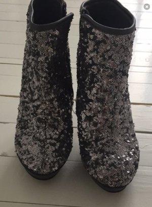 Catwalk silberne Pailletten Ankle boots