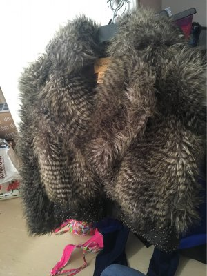 Cavalli Fur Jacket grey brown