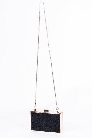 CAVALLI CLASS - Umhängetasche aus Metall mit Fellbesatz Schwarz-Gold