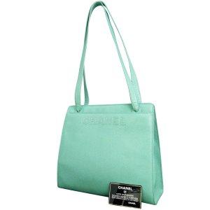 Caviar Leather Light Green Shoulder Bag