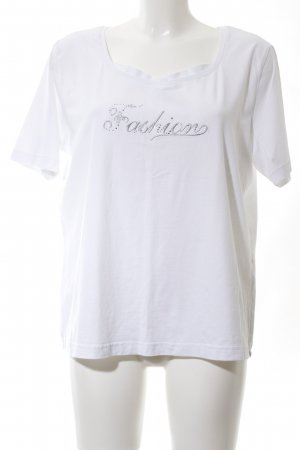 Cavita T-Shirt white-silver-colored embroidered lettering casual look