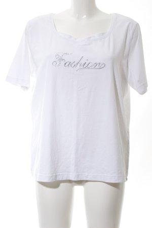 Cavita T-Shirt weiß-silberfarben Schriftzug gestickt Casual-Look