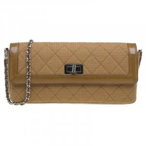 CChanel Brown Wool & Patent Leather East West Mademoiselle Flap Bag